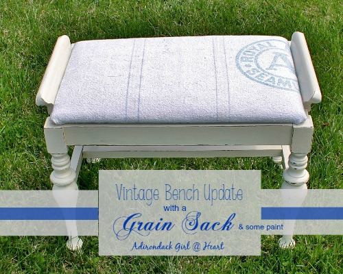 Vintage Bench Update With a Grain Sack (& some paint)