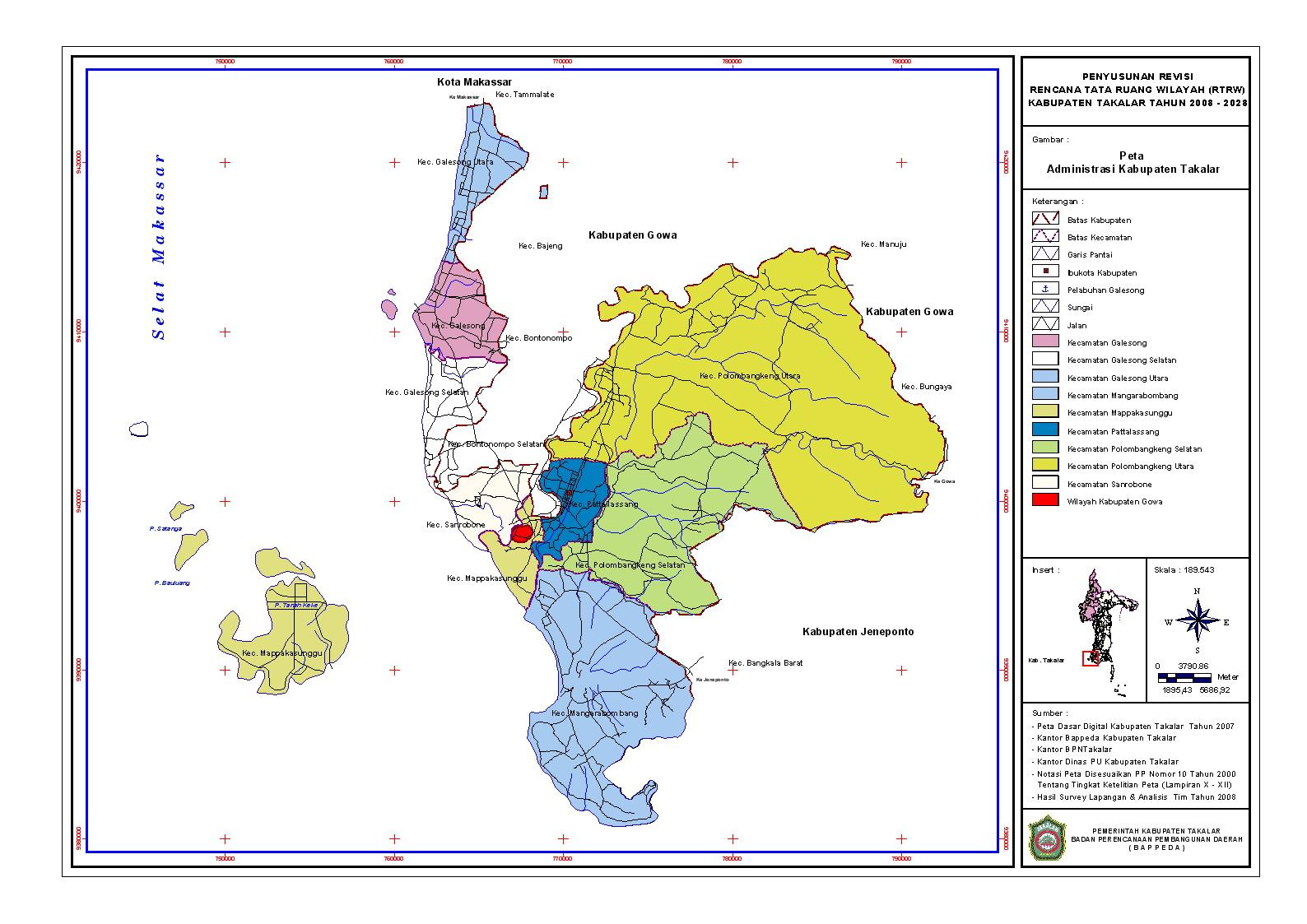 Yaitu pulau terbesar ketiga di dunia setelah greenland dan seluruh pulau irian. Peta Kota: Peta Kabupaten Takalar