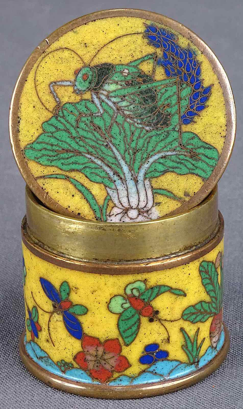 a yellow metal decorated opium box, old China