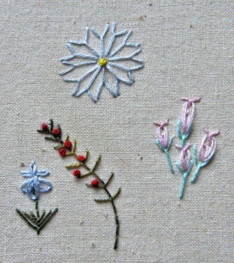 Thêu hoa nhí bằng mũi fly stitch
