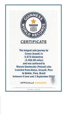 Guinness World Records certificate for Marcin, who trained with Amazon Explorer in Iquitos, Peru