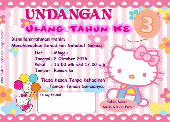 Desain Undangan Ulang Tahun Anak Karakter Hello Kitty CDR