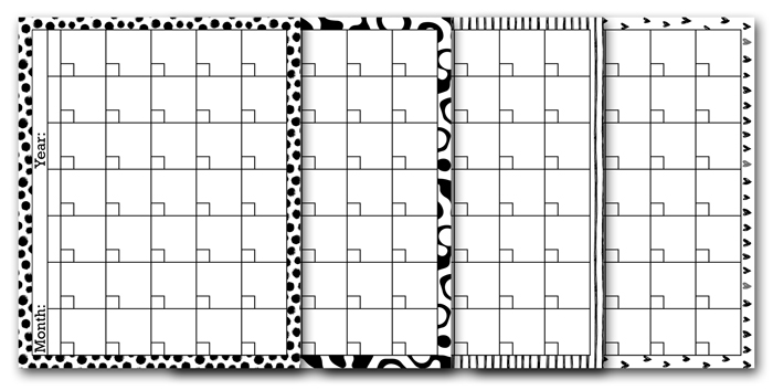 Black and White Calendar Template Printables