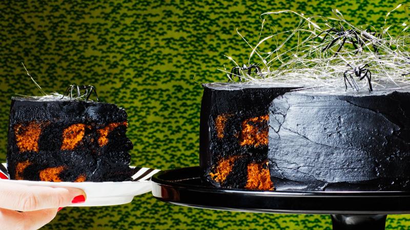Chocolate and Pumpkin Zebra Cake