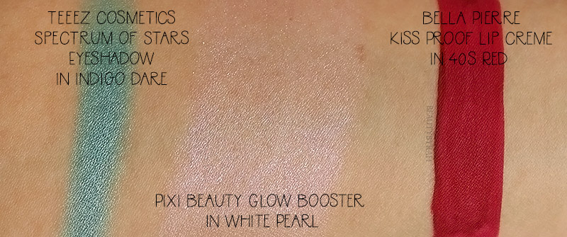Pixi Glow Booster While Pearl, Teeez Cosmetics Eyeshadow and Bella Pierre 40s red swatch