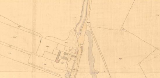 Map: 1844 Tithe Map showing Teakettle Bridge and Water End School immediately to the south Image from the Peter Miller Collection
