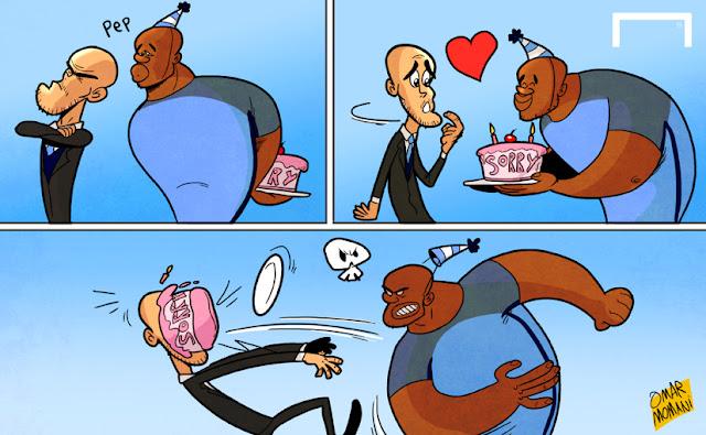 Yaya Toure and Pep Guardiola cartoon