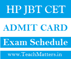 image: HP JBT CET Admit Card 2020 Exam Schedule @ TeachMatters