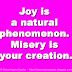 Joy is a natural phenomenon. Misery is your creation.