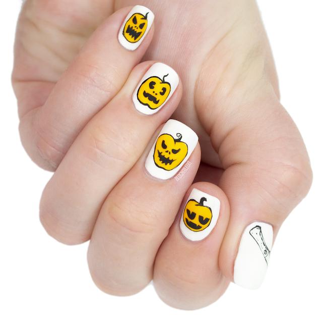 pumpkin nail art jack-o-lantern nail art