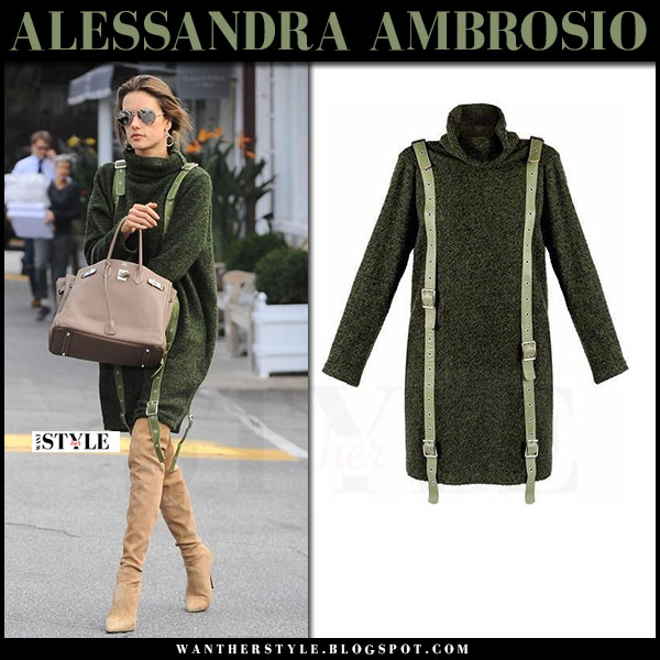 Alessandra Ambrosio in green knit mini dress concepto  and suede boots le silla what she wore
