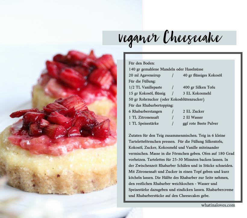 veganer Cheesecake mit Rhabarber