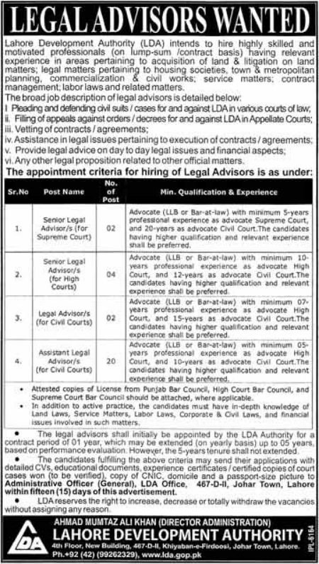 Advertisement for Lahore Development Authority Jobs