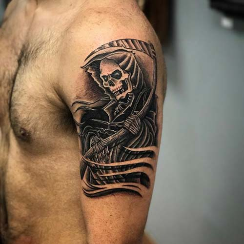 man shoulder grim reaper tattoos azrail dövmeleri