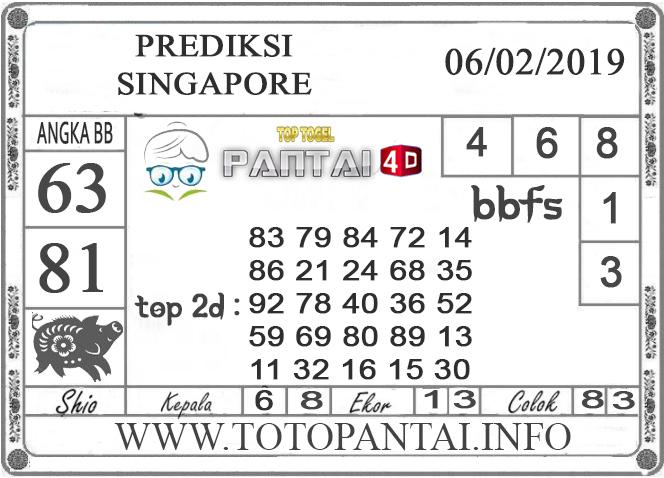 """Prediksi Togel """"SINGAPORE"""" PANTAI4D 06 FEBRUARI 2019"""