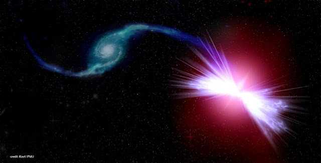 An artist's rendition of the galaxies Akira (right) and Tetsuo (left) in action. Akira's gravity pulls Tetsuo's gas into its central supermassive black hole, fueling winds that have the power to heat Akira's gas. Because of the action of the black hole winds, Tetsuo's donated gas is rendered inert, preventing a new cycle of star formation in Akira. (Credit: Kavli IPMU)