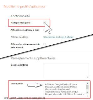 Modifier les paramètres du profil Blogger pour afficher l'option sous les articles.
