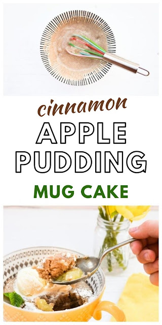 Microwave Apple Sponge Pudding. A quick microwave British pudding flavoured with cinnamon. Quick and easy to make. Vegetarian or vegan.