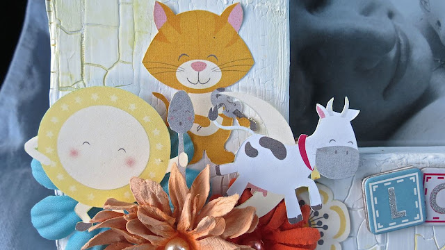 Baby Love by Megan Gourlay for BoBunny using Orange Glitter Paste and Toy Box Collection