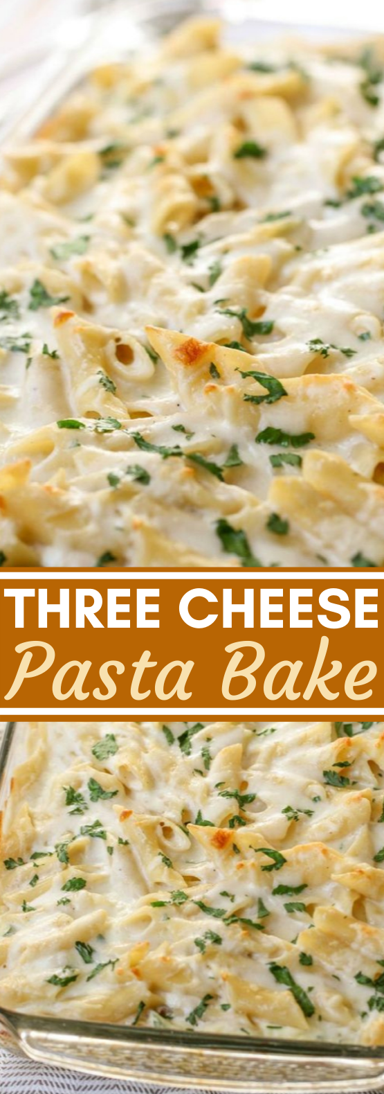 Three Cheese Pasta Bake #dinner #recipes #weeknight #pasta #cheese