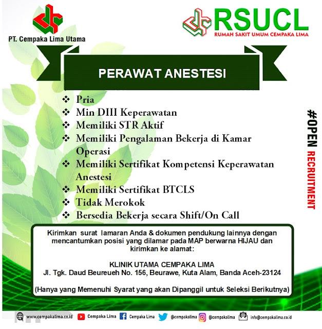 Lowongan Kerja Sebagai Perawat Anestesi RSU Cempaka Lima Aceh Tahun 2020