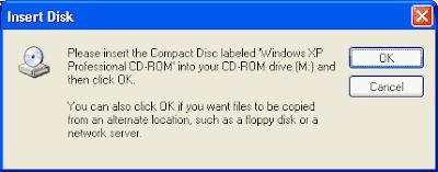masukkan cd windows