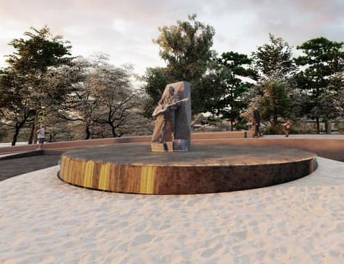 Tượng nhạc sĩ Trịnh Công Sơn tại trung tâm công viên
