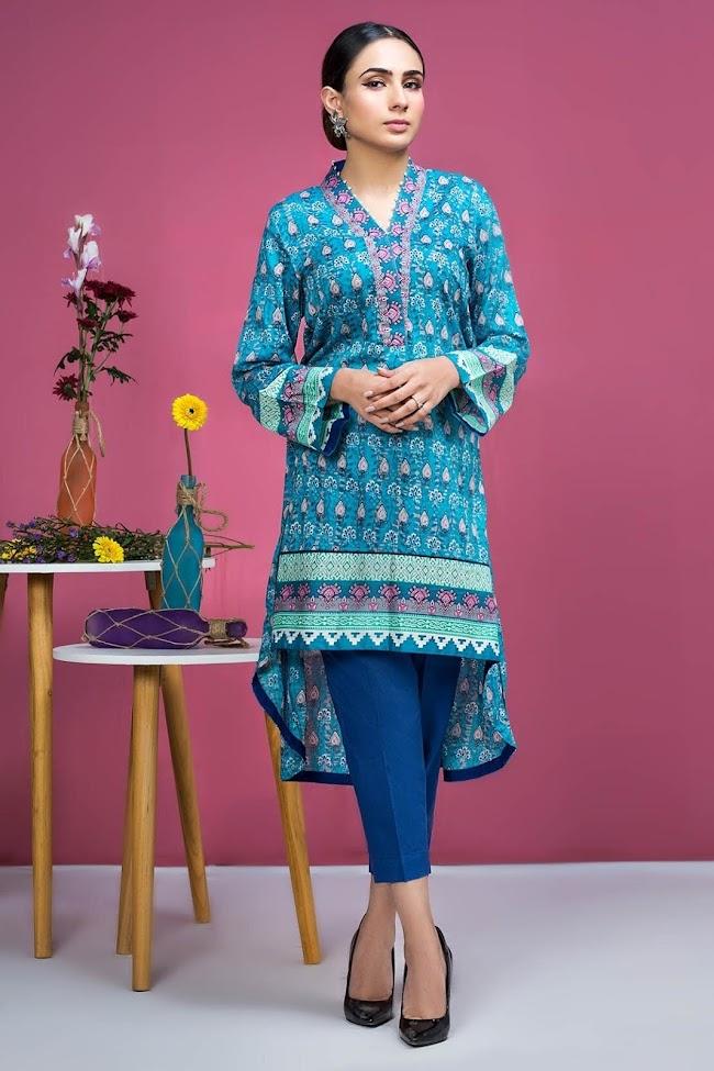 Warda lawn shirt Blue Printed