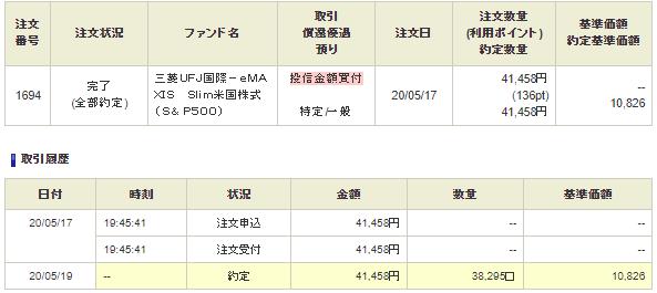 5/17 41,458円で買付注文