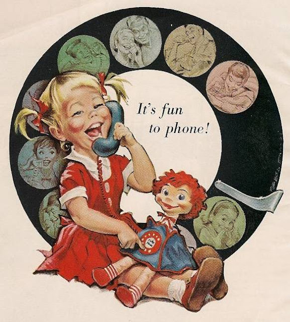 Illustration for Bell Telephone. 1950s It's fun to phone. Little girl uses a rotary dial phone. An Exciting Offer and Other stories of Marketing the American Dream. marchmatron.com