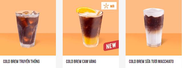 Menu ca phê pha lạnh Gold Brew hương vị mới.