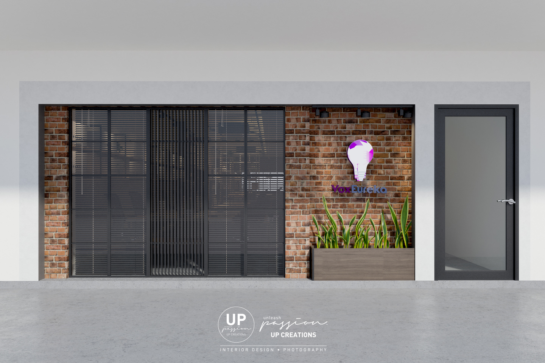 Subang vox eureka facade with red color bricks, wood planter, lighted signage and black color metal strips divider