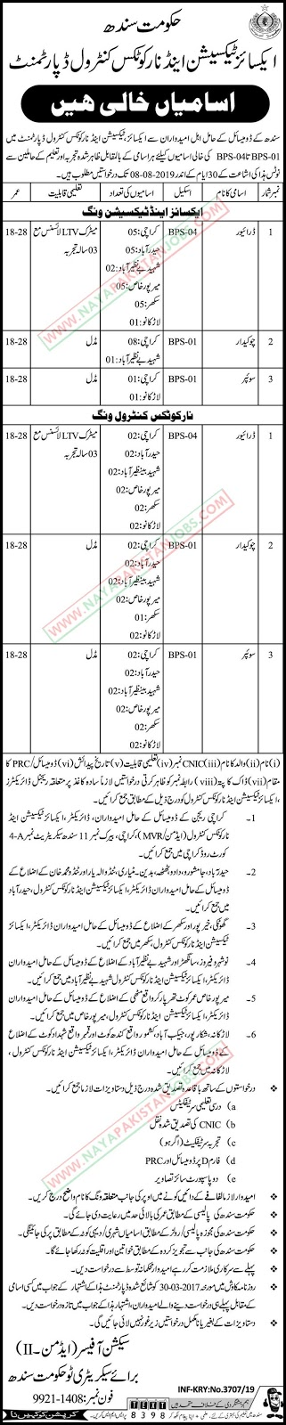 Excise Taxation Jobs, Excise Taxation And Narcotics Control Department Jobs 2019 July