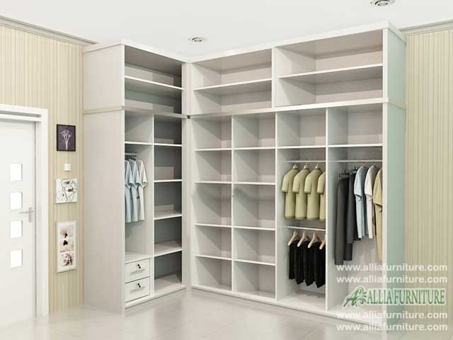 desain lemari baju sudut minimalis model seal