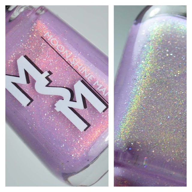 lavender nail polish with color shifting shimmer in a bottle
