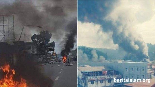 kantor telkom papua dibakar