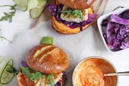 blackened fish burger + sriracha mayo