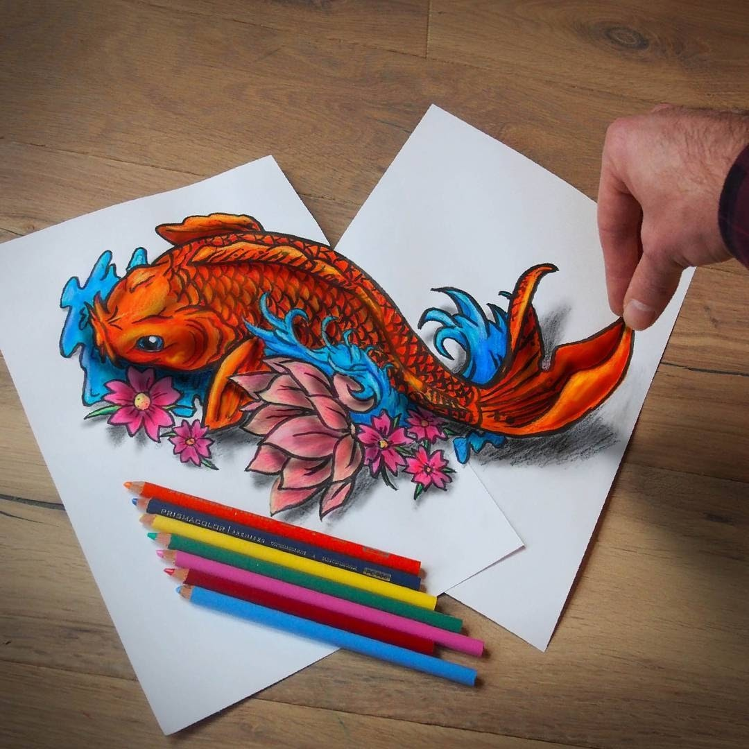 09-Traditional-Japanese-Koi-Ramon-Bruin-Optical-Illusions-in-3D-Drawings-www-designstack-co