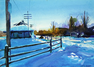 A painting of the Williamsville train depot with snow at sunrise