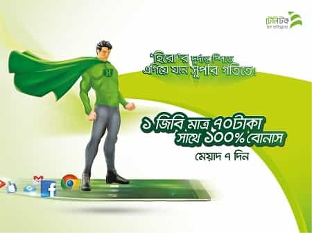Teletalk Hero Data Packages 100% Internet Bonus