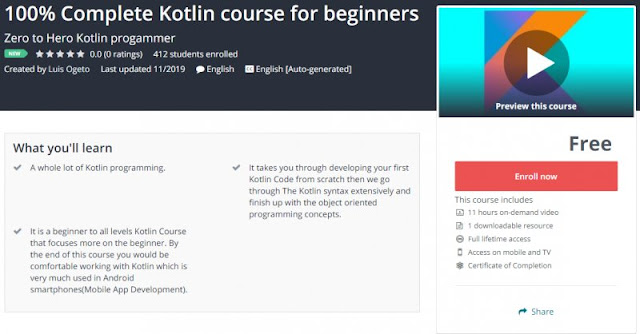 [100% Free] 100% Complete Kotlin course for beginners