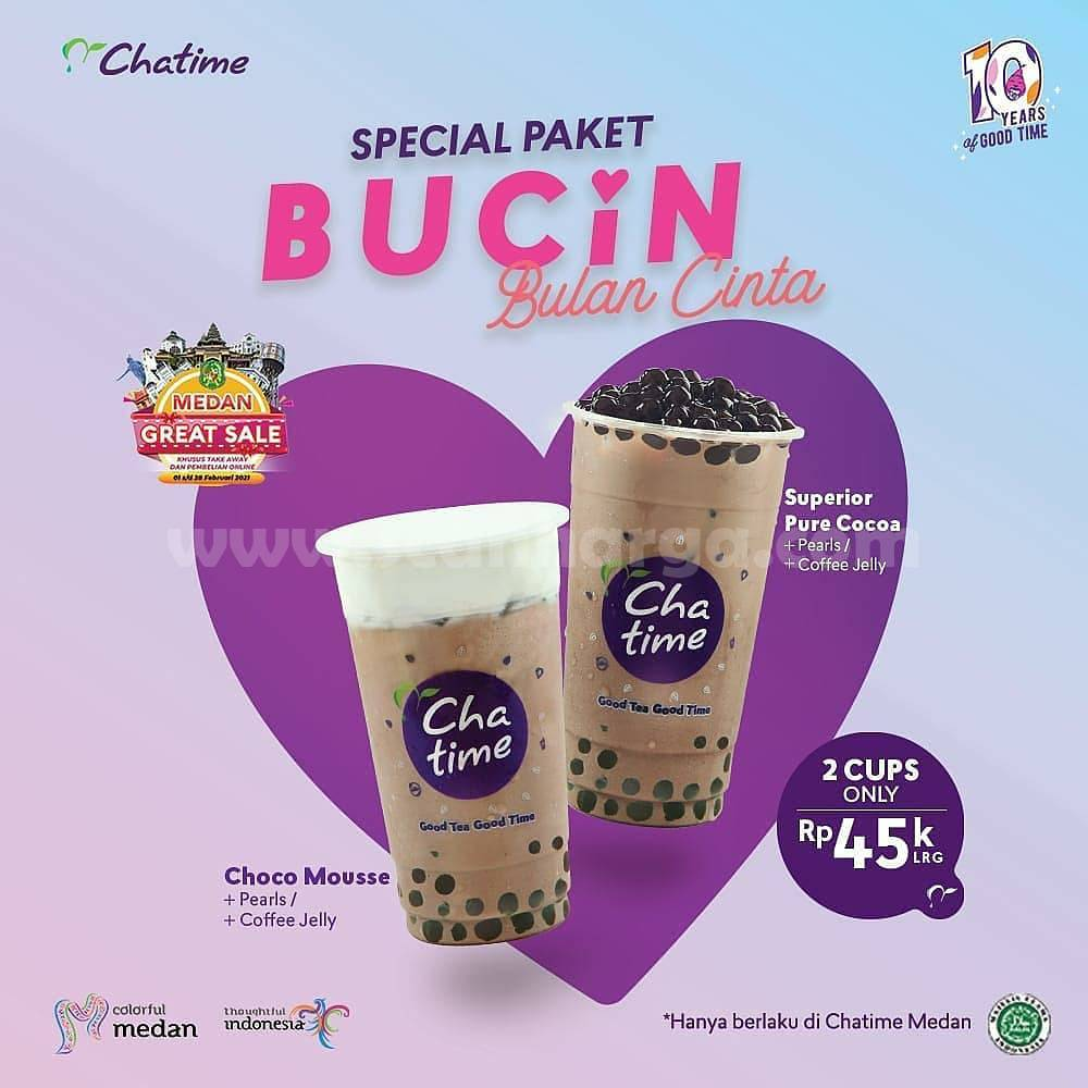 CHATIME Promo Spesial Paket BUCIN! 2 Cups cuma Rp 45K