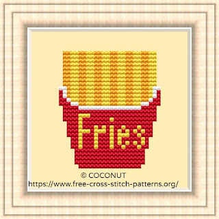 FRENCH FRIES #2, FREE AND EASY PRINTABLE CROSS STITCH PATTERN