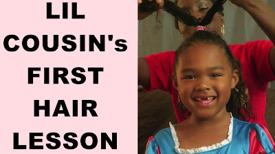 Lil Cousin's FIRST NATURAL HAIR CARE LESSON | Mixed Kids | Biracial Hair Care