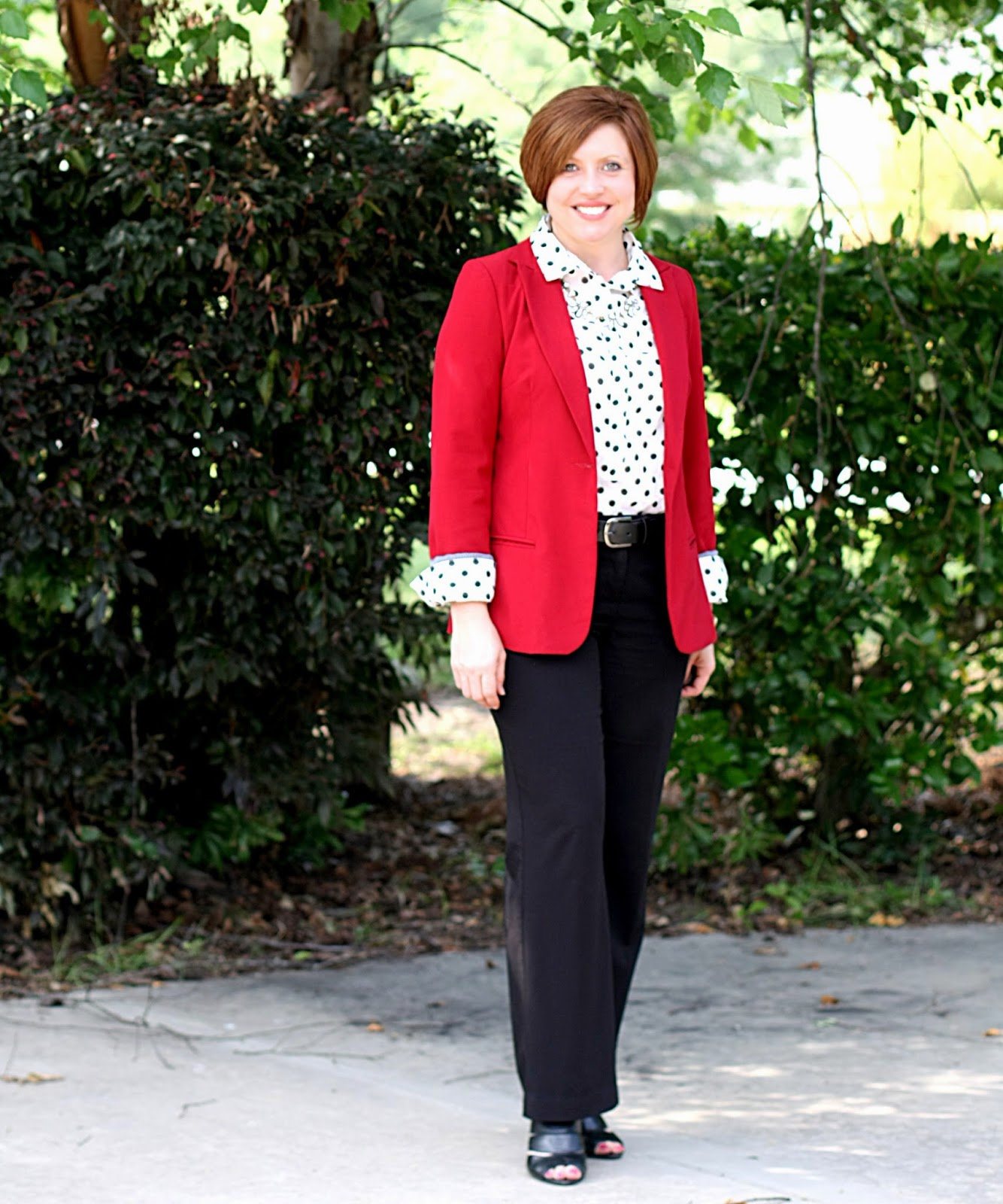 Red with polka dots- two ways