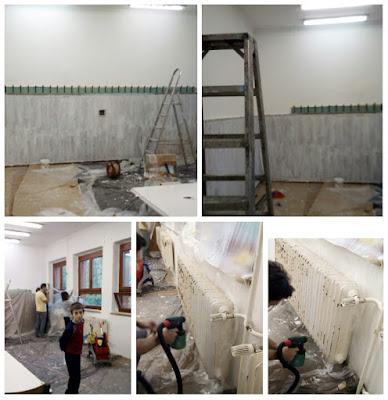 DIY osztályfelújítás - lambéria alapozva, radiátorokat festékszóróval festjük