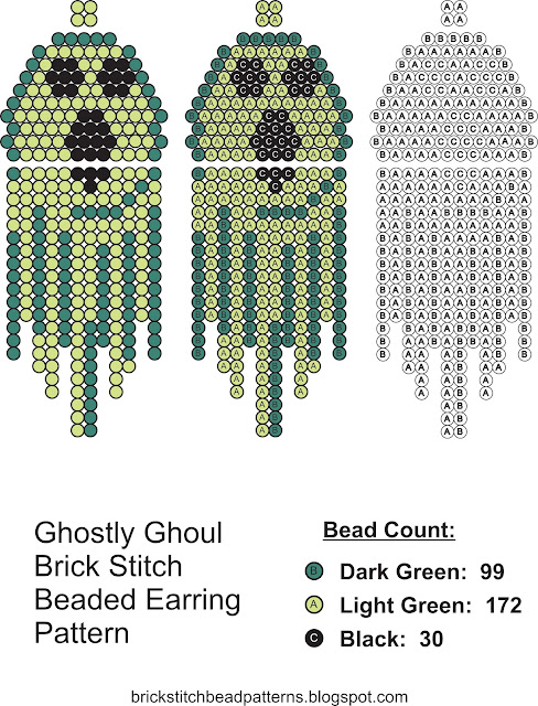 Free brick stitch seed bead earring pattern download.