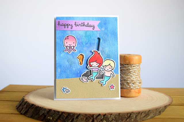 Mermaid Slider Card by Jess Crafts using Lawn Fawn Mermaid for You