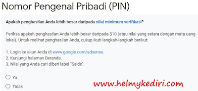 verifikasi alamat PIN Adsense menggunakan SIM