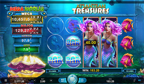 Main Gratis Slot Indonesia - Atlantean Treasure Mega Moolah (Microgaming)